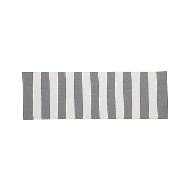 Olin Grey Striped Cotton Dhurrie 2'x6' Rug Runner