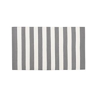 "Olin Grey Striped Cotton Dhurrie 30""x50"" Rug"