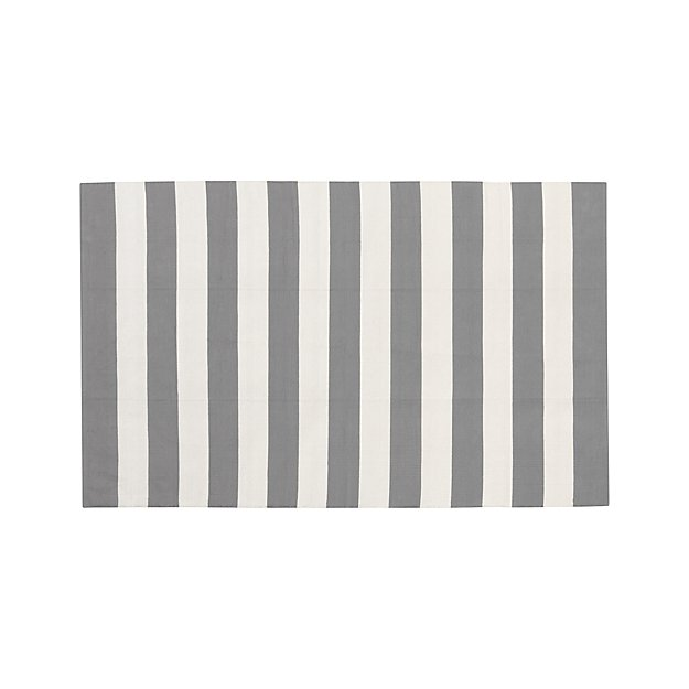 Olin Grey Striped Cotton Dhurrie 5 39 X8 39 Rug Crate And Barrel