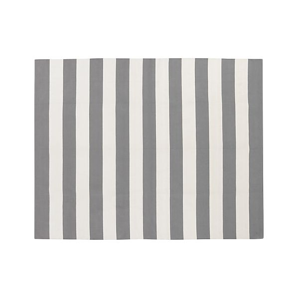 Olin Grey Striped Cotton Dhurrie 8'x10' Rug