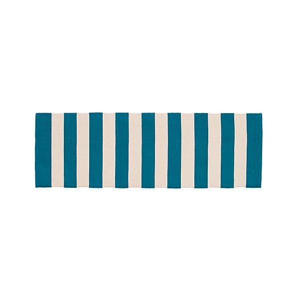 Olin Teal Blue Striped Cotton 2'x6' Rug Runner