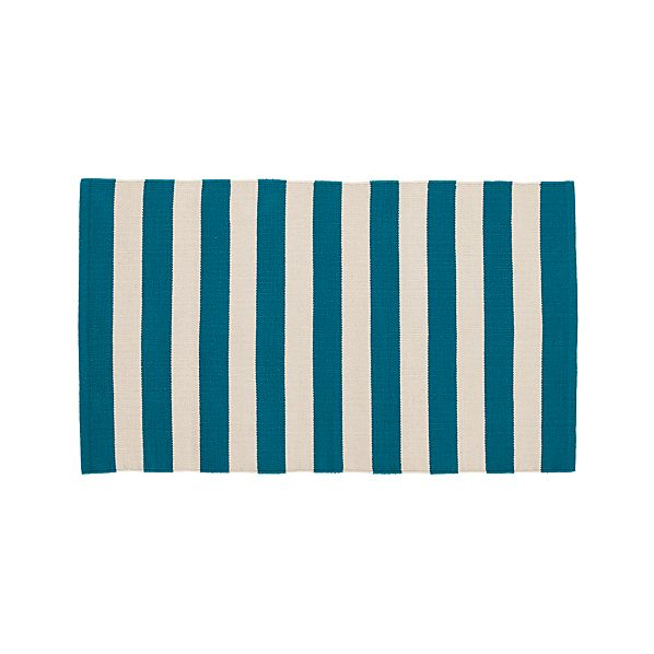 "Olin Teal Blue Striped Cotton 30""x50"" Rug"