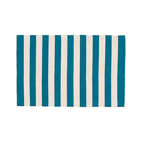 Olin Teal Blue Striped Cotton 4'x6' Rug