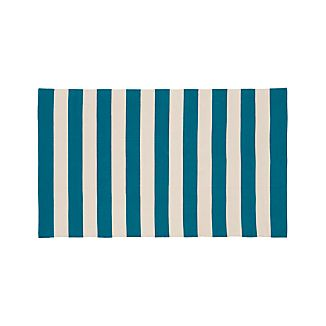 Olin Teal Blue Striped Cotton Rug