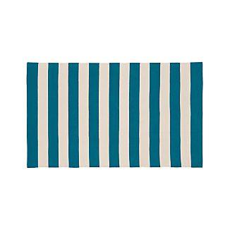 Olin Teal Blue Striped Cotton Rug