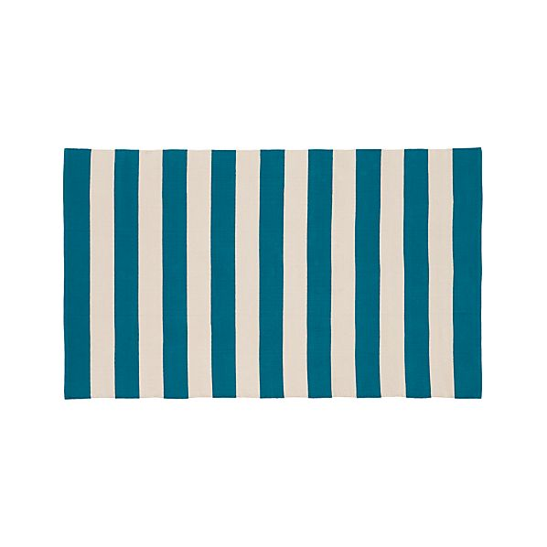 Olin Teal Blue Striped Cotton 5'x8' Rug