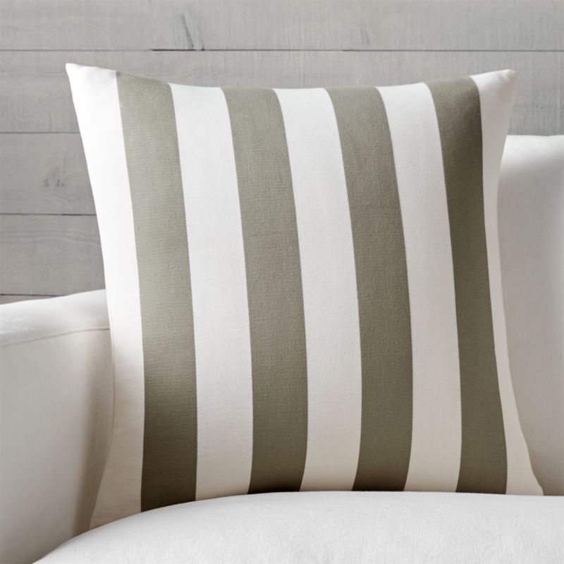 "Olin Taupe-Ivory Striped 20"" Pillow with Down-Alternative Insert"