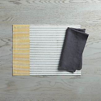 Oliver Placemat and Helena Graphite Linen Napkin