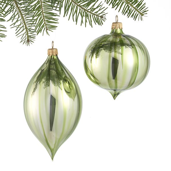 Set of 2 Ombre Green Onion and Drop Ornaments