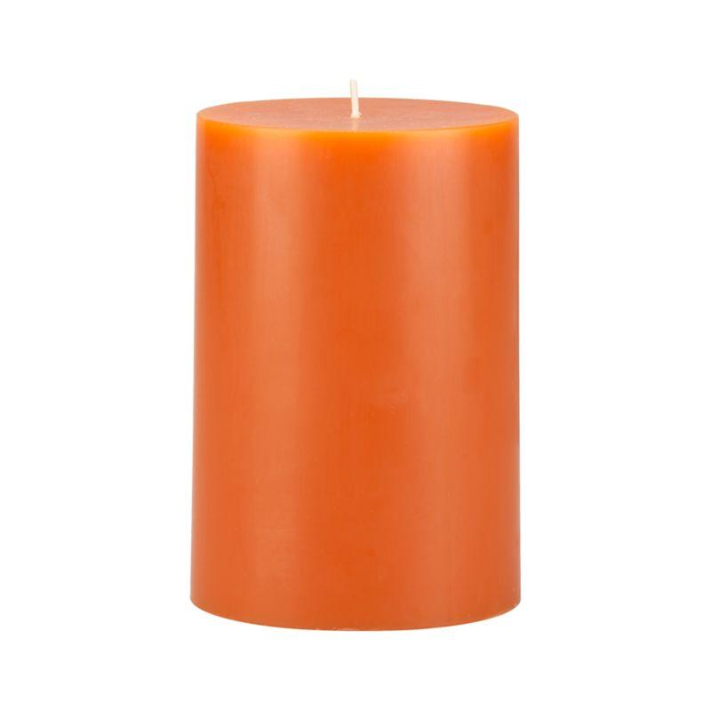 """Stock up on the classic pillar candle, in deep orange.<br /><br /><NEWTAG/><ul><li>Paraffin wax</li><li>Cotton wick</li><li>Unscented</li><li>Burn time: 4""""x6"""" (120 hours)</li><li>Made in India</li></ul>"""
