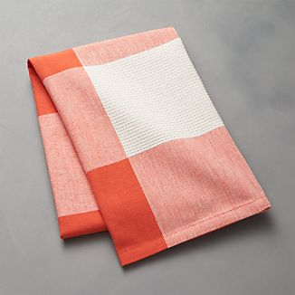 Orange Check Dish Towel