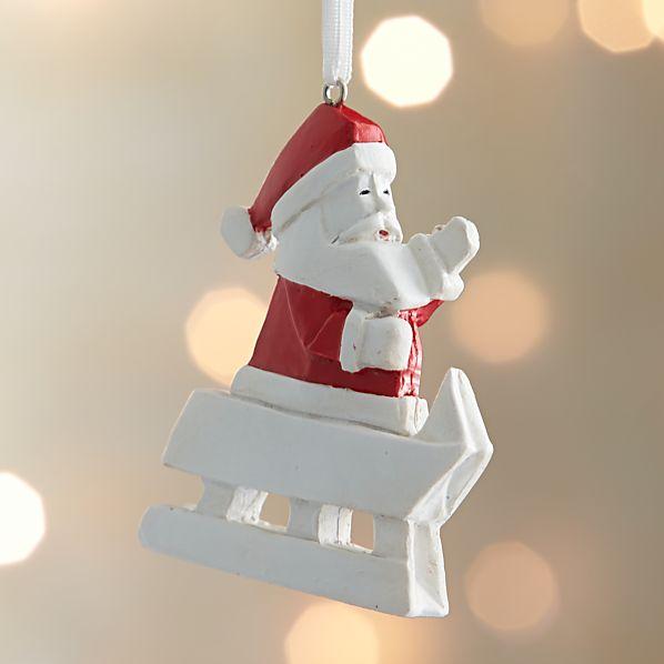 Origami Santa Sledding Ornament