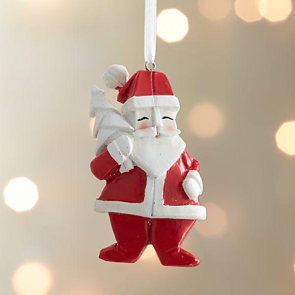 Origami Santa With Tree Ornament