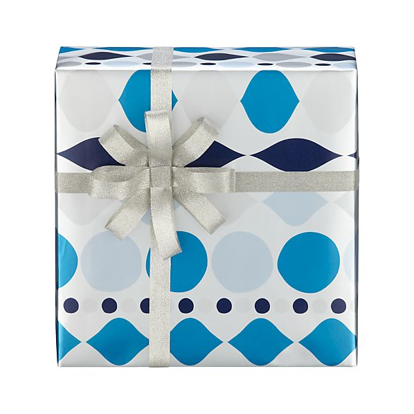 Blue and Silver Large Ornament Garland Gift Wrap