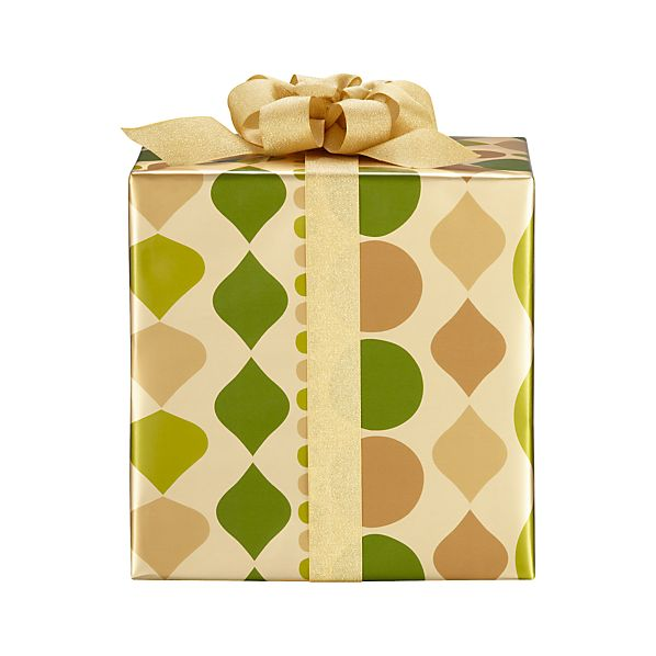 Green and Gold Large Ornament Garland Gift Wrap