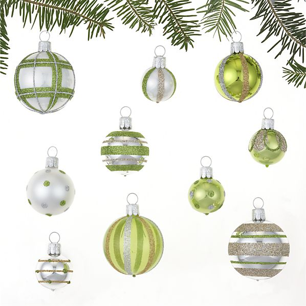 Set of 10 Mini Silver and Green and White Ornaments