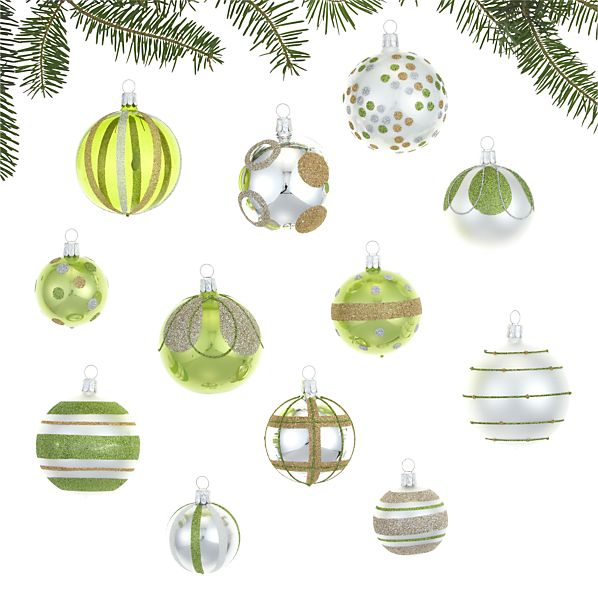 Set of 12 Silver and Green and White Ornaments