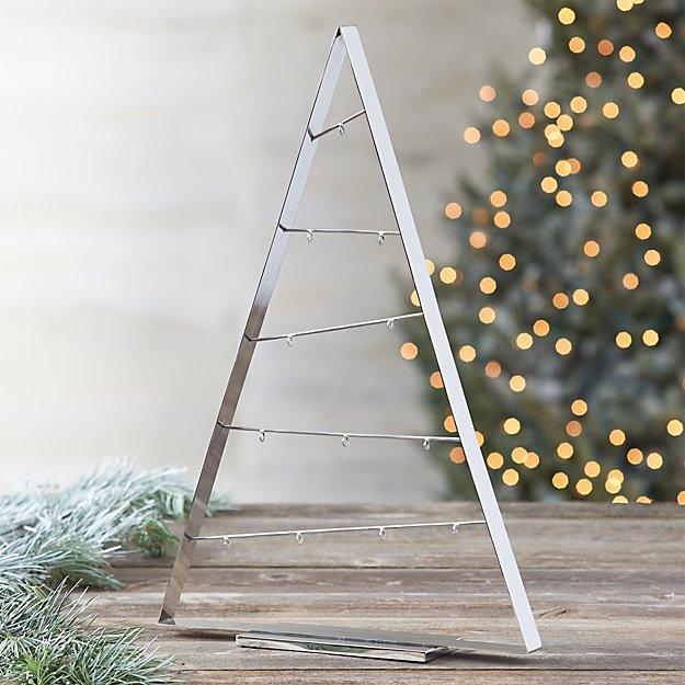 "A-Frame Silver 26"" Metal Ornament Tree"