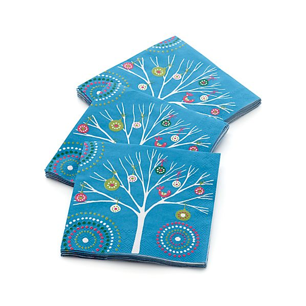 Set of 20 Ornament Trees Beverage Napkins