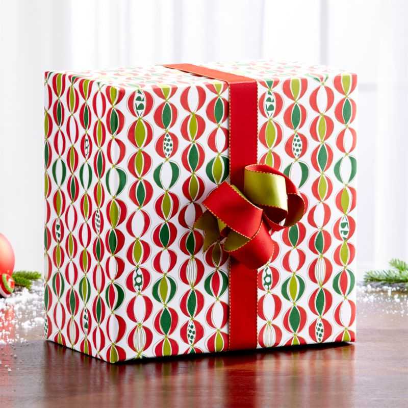 Ornament Garland White Wrapping Paper