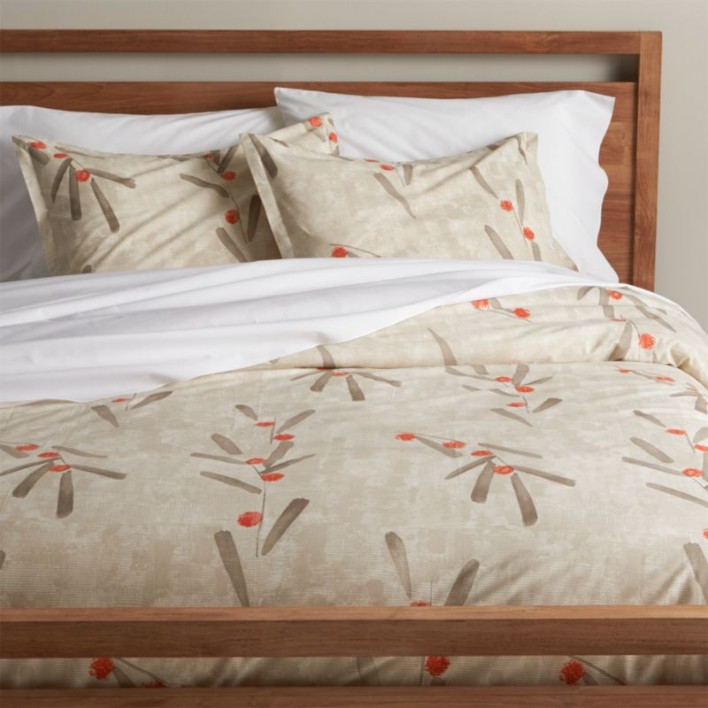 Center the bedroom in a Zen garden of neutral color and soft cotton percale. Deft brushstrokes sketch stems and leaves in earthy tones over a backdrop of modulated taupe, dotted with dabs of burnt orange berries. Duvet reverses to self and has a hidden-button closure. Duvet inserts also available.<br /><br /><NEWTAG/><ul><li>100% cotton percale</li><li>200-thread-count</li><li>Machine wash cold, tumble dry; warm iron as needed</li><li>Made in Portugal</li></ul>