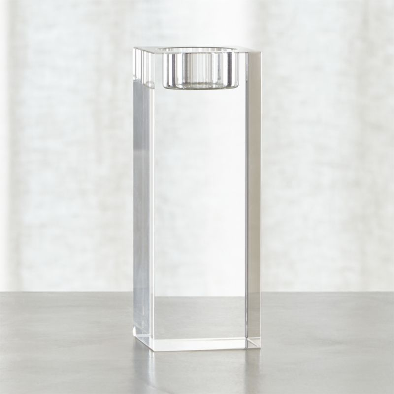 Cubist candlelight in brilliant lead crystal with polished, beveled edges. Modern architectural candleholder stands strong alone or clusters beautifully.<br /><br /><NEWTAG/><ul><li>Lead crystal</li><li>Cut and polished edges</li><li>Accommodates one standard tealight candle, sold separately</li><li>Clean with a damp cloth</li><li>Made in China</li></ul>
