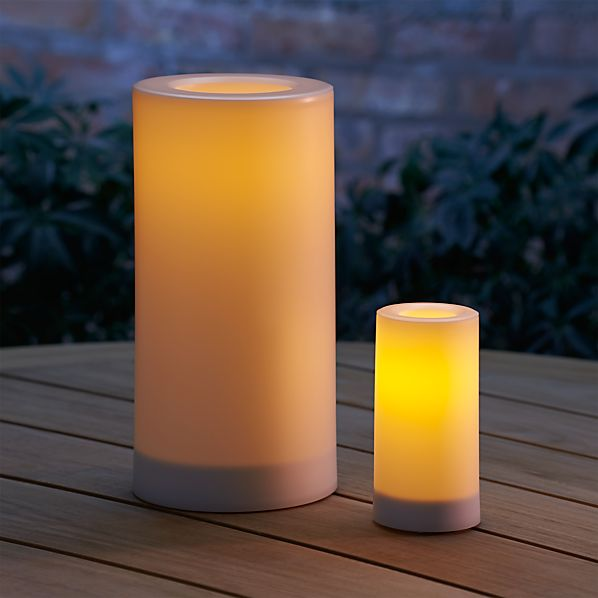 Outdoor Pillar Candles With Timer Crate And Barrel