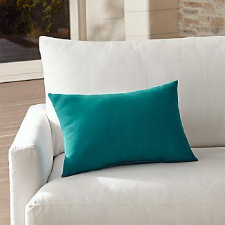 Sunbrella ® Bold Turquoise Outdoor Lumbar Pillow