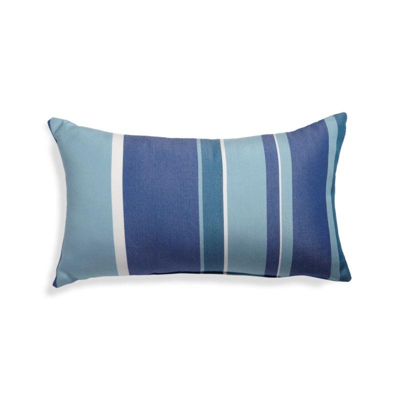 Seaside Blue Striped Outdoor Lumbar Pillow