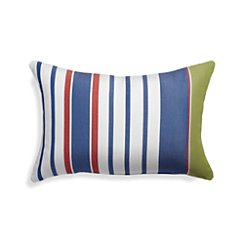 Summer Blue Striped Outdoor Lumbar Pillow
