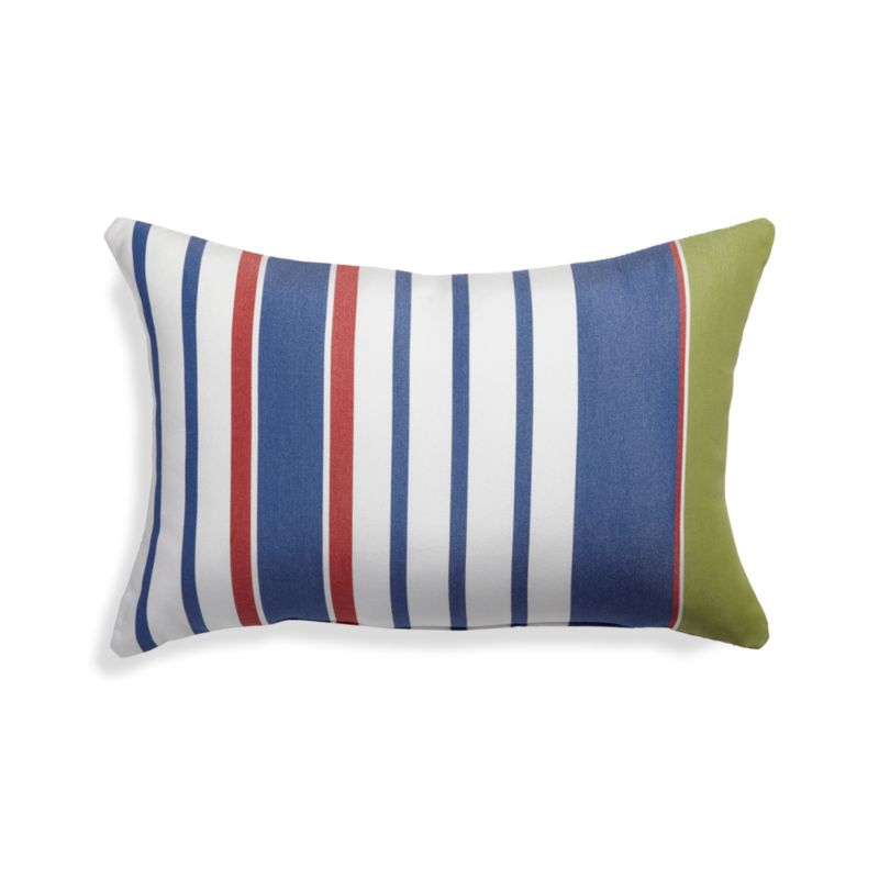 Summer Blue Striped Outdoor Lumbar Pillow