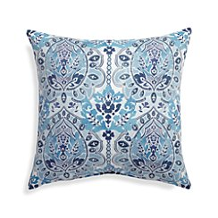 "Arabesque 20"" Sq. Blue Outdoor Pillow"