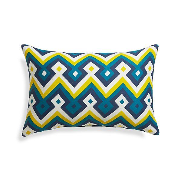 "Aztec Chevron Turkish Tile 20""x13"" Outdoor Pillow"