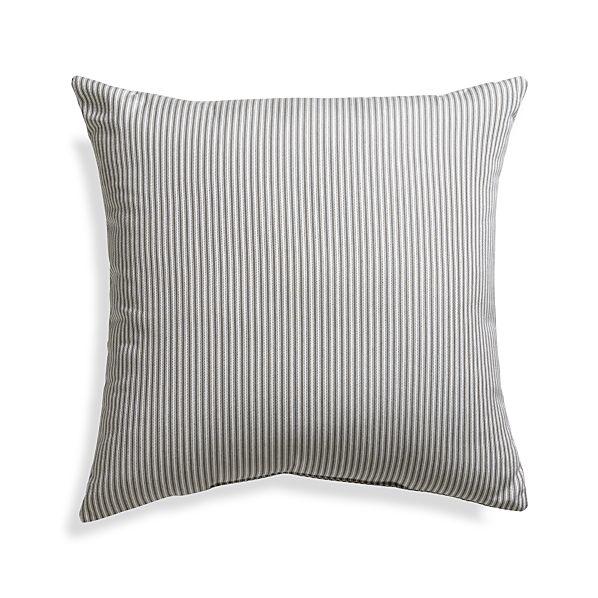 "Sunbrella ® Charcoal Ticking Stripe 20"" Sq. Outdoor Pillow"