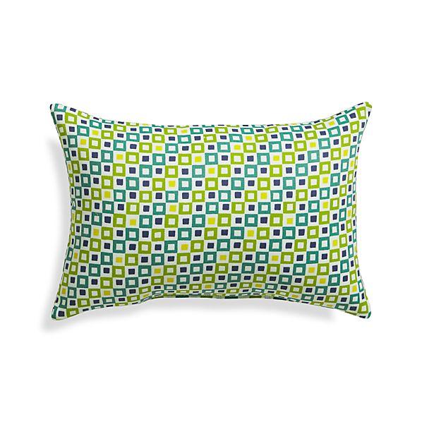 "Graphic Geo Tiles Bottle Green 20""x13"" Outdoor Pillow"