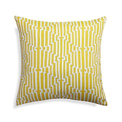 "Maze 20"" Sq. Yellow Outdoor Pillow"