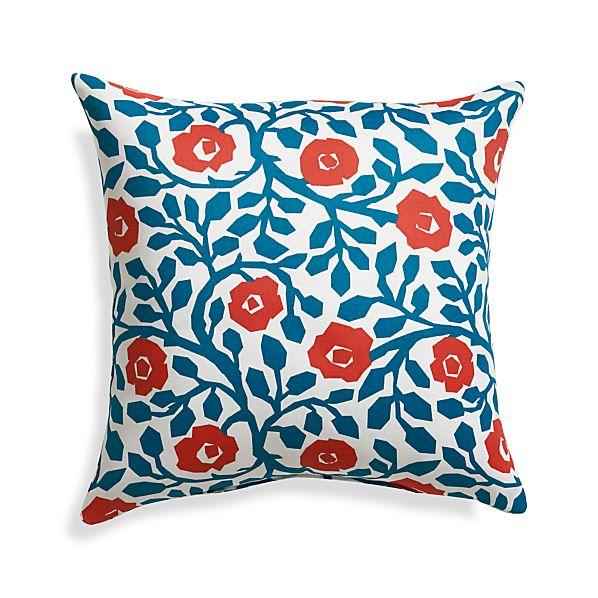 "Poppy Scroll 20"" Sq. Outdoor Pillow"