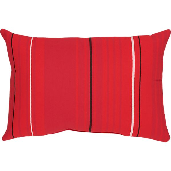 "Sunbrella ® Red Tonal Stripe 20""x13"" Outdoor  Pillow"