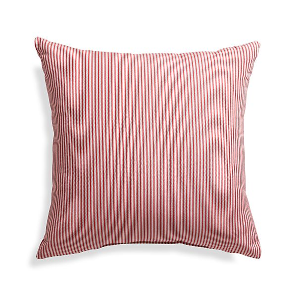 "Sunbrella ® Red Ticking Stripe 20"" Sq. Outdoor Pillow"