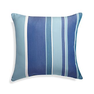 "Seaside 20"" Sq. Blue Striped Outdoor Pillow"