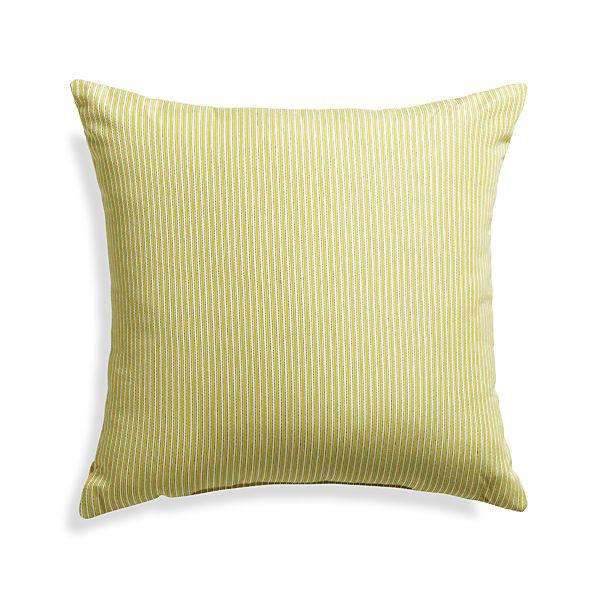 "Sunbrella ® Sulfur Ticking Stripe 20"" Sq. Outdoor Pillow"