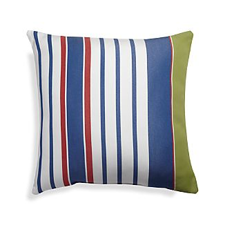 "Summer 20"" Sq. Blue Striped Outdoor Pillow"
