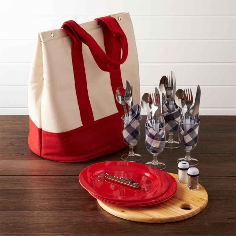 Outfitted Canvas Picnic Tote Crate And Barrel