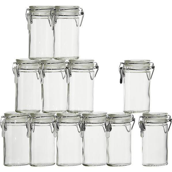 Set of 12 Mini Oval Spice-Herb Jars with Clamp
