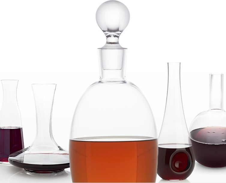 Decanters filled with wine and spirits.