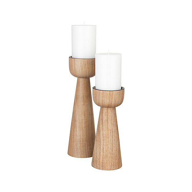 Owen Acacia Wood Pillar Candle Holders