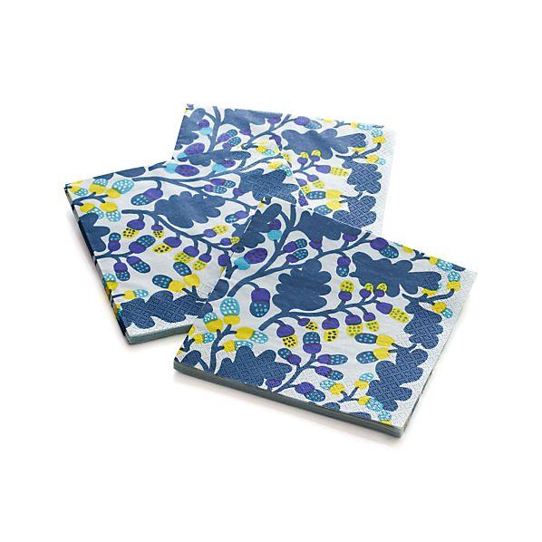 "Set of 20 Marimekko Pähkinäpuu Blue and Yellow Paper 6.5"" Napkins"