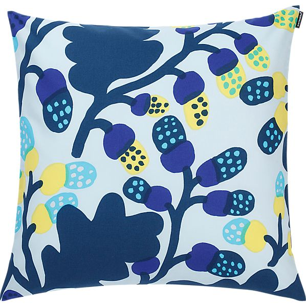 "Marimekko Pähkinäpuu Blue and Yellow 20"" Pillow"