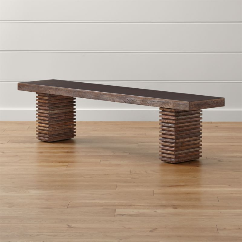 Pull up a seat crafted of naturally aged, reclaimed peroba wood, magnificently repurposed in an artful Zen-meets-Prairie-Style aesthetic. The Paloma I bench's exotic wood is reclaimed from the siding and floors of old buildings in Brazil, then restored and handcrafted to create each dynamic piece.  <NEWTAG/><ul><li>Reclaimed peroba wood, engineered wood and mahogany veneer</li><li>Top has java brown finish with water-based clear lacquer topcoat</li><li>Each piece is unique due to the natural aging process of peroba wood</li><li>Seats 3</li><li>Made in Indonesia</li></ul><br />