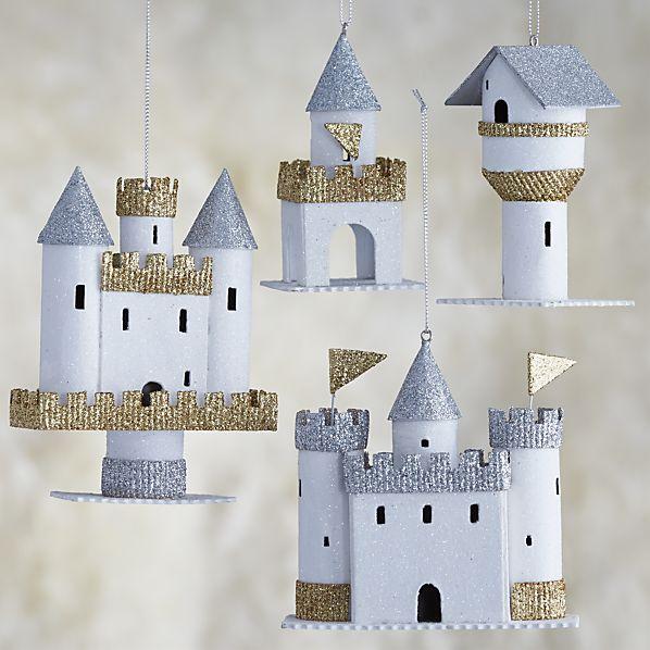 Set of 4 Paper Castle Ornaments